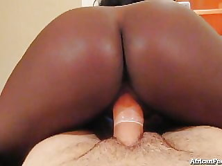 Amateur African Girl Gets Drenched With White Man's Cum!