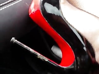 lick my heels clean! slut in the car leather&louboutin heels