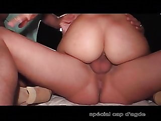 Creampie - She gets fucked by two men on the beach