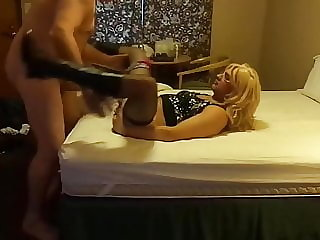 Crossdresser lexx gets fucked on bed