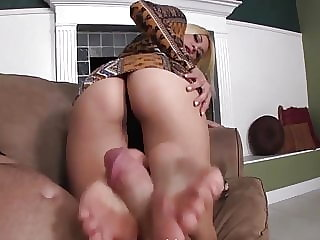 Footjob in front of cuck POV