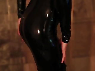 My latex girl black latex catsuit thigh high boots