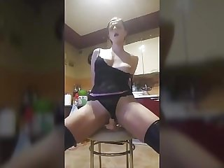 Horny Polish Chick Riding Dildo On Chair