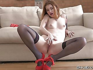 Polish Slut Misha Cross Masturbates In Stockings and Heels