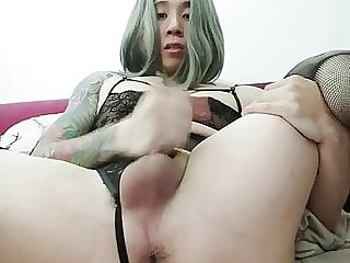 Asian femboi slut jerking off