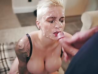 Short-Haired Blonde With Amazing Body Gets Bukkaked!