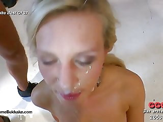 Sexy little slut is on her knees sucking cocks good