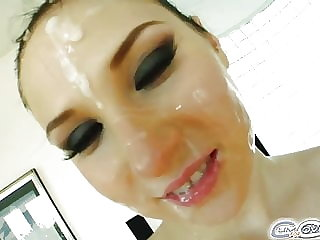 Nicole sucks off  4 cocks for deep throat and cumshots