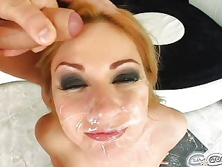 Roxy's got five cocks in her throat and is cum-covered