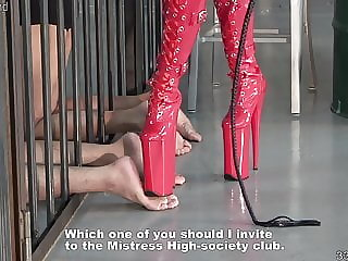 Japanese Femdom Kira High Heels Boots Trample and Whipping