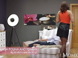 Mom big tits hot milf anna polina in sexy stockings with big ass