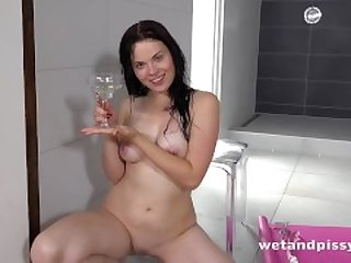 Piss Drinking - Gulping down her golden pee