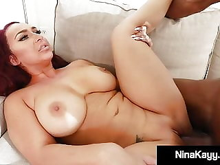 Dark Dicked Nina Kayy Spits On, Sucks & Fucks Big Black Cock