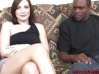 Brunette babe Jersey fed cum after doggystyle BBC banging