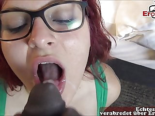 Normal girl next door with glasses get cum in mouth