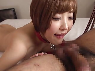 Japanese wife Asahi Mizuno prone blowjob and handjob