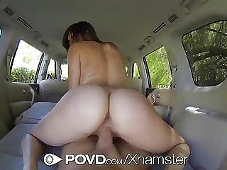 HD POVD - Holly Michaels fucked in the back of the car pov