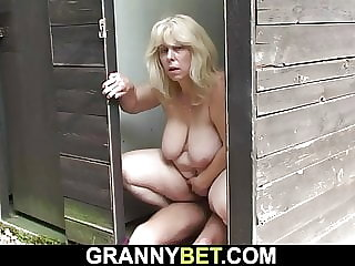 Blonde old grandma rides his horny cock on public