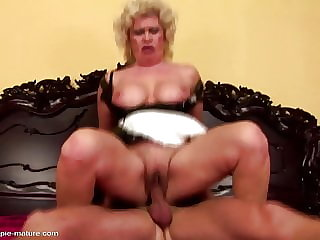 Hungry granny gets creampie from boy