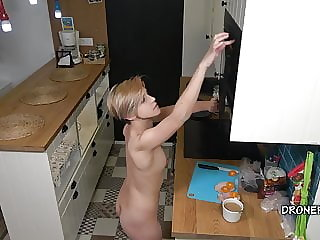 Hot Czech Nudist Chick Naked in the Kitchen