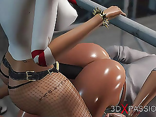 Harley Quinn fucks hard a female prison warden with strapon