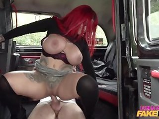 Female Fake Taxi Sabien Demonia let the mechanic play with her huge tits