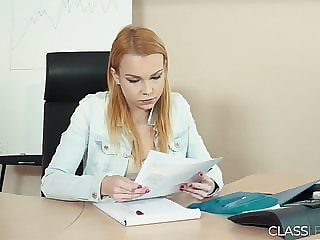 Rebecca and Ashley lesbian sex in the office for first time