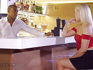 Dane Jones Czech blonde Lovita Fate seduces black bartender