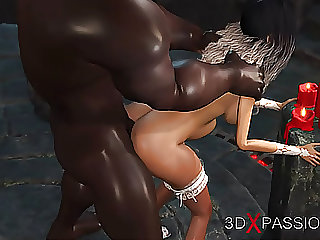 Young bride gets fucked by a big black cock in dark dungeon