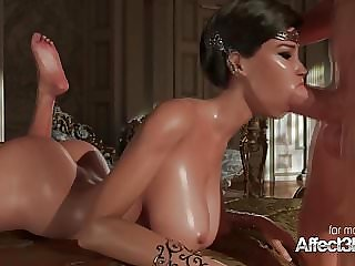 Black hair princess giving blowjob