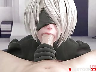 Blonde 3D Nier fucked by big dick compilation
