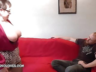 Huge tits mature talking dirty to her young lodger