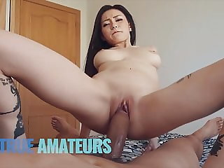 Goth spinner Asian rides pov - TrueAmateurs
