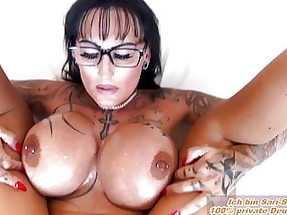 german Wife Milf POV fuck big tits tattoo and glasses