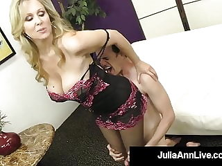 Fem Dom Cougar Julia Ann Teases Dick With Her Hosed Feet!