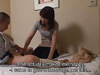 Japanese hotel massage exposing erection for new masseuse