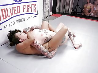 Lesbian wrestling with strapon Rocky Emerson vs Daisy Ducati