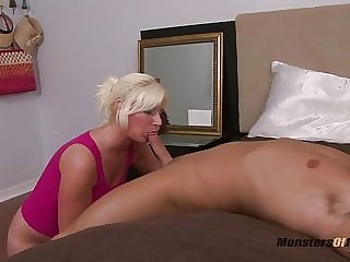 Big Blonde Deepthroats Cock and Eats Cum