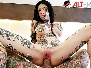 Busty tattooed sex fiend Megan Inky gets a creampie