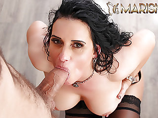 MARISKAX Mature fucks a big cock in front of her husband