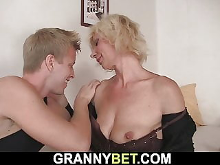 Old mature blonde takes it from behind