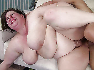 Big tit brunette plumper is hungry for a hard dick