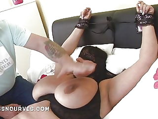 Huge tits British Mature has her boobs punished