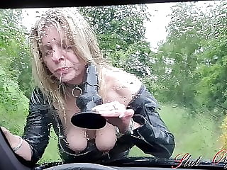 Slut-Orgasma Celeste dildo deep throat on a rainy day on car