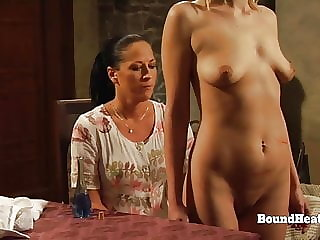 Voyeur Lesbian Slave Peaks Through Floor And Masturbates