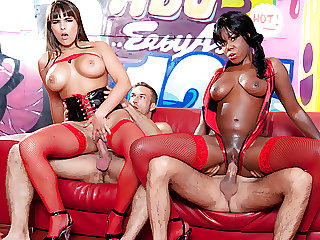 Hot ebony and white girl in rough foursome with two big dicks