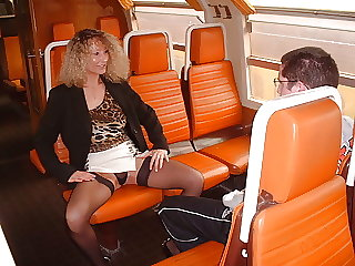 Pervert Mom and virgin boy in train