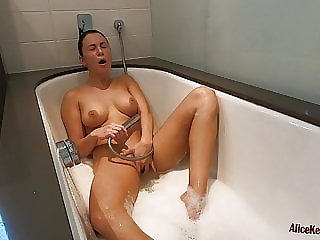 Hot Girl Sensual Play Pussy Water Jet and Riding on Dildo