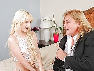 DADDY4K. Tiny blonde rides dick of groom's handsome dad