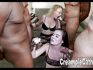 Teen Does First Gangbang